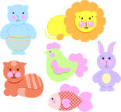 Set toys from fabric vector. Vector illustrtion toys from fabric Royalty Free Stock Images