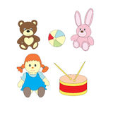 A set of toys for girls. A vector picture with a ball, a doll, a bear, a drum, a hare. A set of toys for girls. A vector picture with a ball, a doll, a bear, a Royalty Free Stock Photography