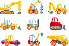 Set of toys heavy construction machines in a flat Stock Images