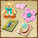 Set of toys and hobby items for girls, five images Stock Photography