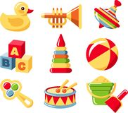 Set toys. Illustration of the nine different kind of toys on white background. Vector illustration Royalty Free Stock Image