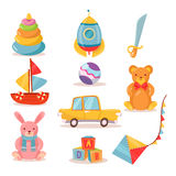 Set of Toys for Kids in Retro style Stock Image