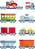 Set of toys railway in a flat style. royalty free illustration