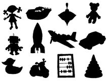 Set of toys. Set of silhouettes of different toys Royalty Free Stock Photos