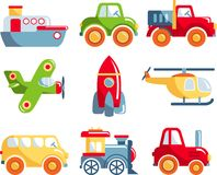 Set of toys transportation royalty free illustration