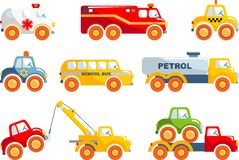 Set of toys transportation in a flat style. Royalty Free Stock Photos
