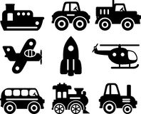 Set of toys transportation - vector silhouette Royalty Free Stock Photos