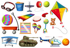 Set of toys and transportations Stock Photo