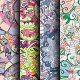 Set of tracery colorful seamless patterns. Curved doodling backgrounds for textile or printing with mehndi and ethnic motives. Vector Royalty Free Stock Images