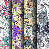 Set of tracery colorful seamless patterns. Curved doodling backgrounds for textile or printing with mehndi and ethnic motives. Vector Stock Photo