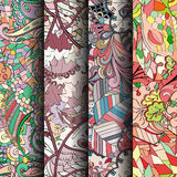 Set of tracery colorful seamless patterns. Curved doodling backgrounds for textile or printing with mehndi and ethnic motives. Vector Royalty Free Stock Photo