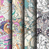 Set of tracery colorful seamless patterns. Curved doodling backgrounds for textile or printing with mehndi and ethnic motives. Vector Stock Photos