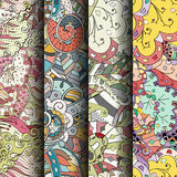 Set of tracery colorful seamless patterns. Curved doodling backgrounds for textile or printing with mehndi and ethnic motives