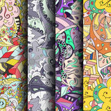 Set of tracery colorful seamless patterns. Curved doodling backgrounds for textile or printing with mehndi and ethnic motives Royalty Free Stock Photo