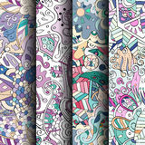 Set of tracery colorful seamless patterns. Curved doodling backgrounds for textile or printing with mehndi and ethnic motives Stock Images