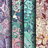 Set of tracery colorful seamless patterns. Curved doodling backgrounds for textile or printing with mehndi and ethnic motives Royalty Free Stock Photography
