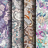 Set of tracery colorful seamless patterns. Curved doodling backgrounds for textile or printing with mehndi and ethnic motives Royalty Free Stock Images