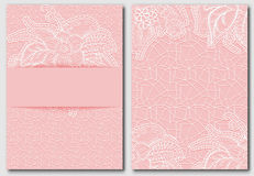 Set of tracery pink template for creating invitations and greeting cards. Openwork elegant cloth on pink background. Royalty Free Stock Photo