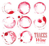 Set traces red wine marks. Set traces glass draw pour wine splashes and spot print Stock Photos