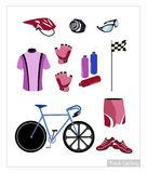 Set of Track Cycling Equipment on White Background Stock Image