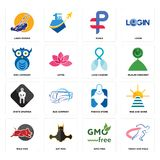Set of track and field, gmo free, wild hog, fishing store, white spartan, lung cancer, owl company, ruble, lawn mower icons. Set Of 16 simple  icons such as Royalty Free Stock Photography