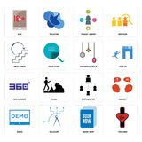 Set of tracker, book now, demo, distributor, 360 degree, christmas bulb, next steps, travel agent, xxx icons. Set Of 16 simple  icons such as tracker, book now Stock Photography