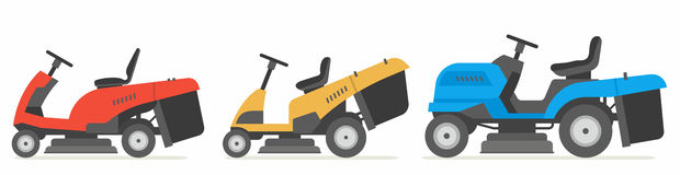 Set of tractor lawnmower. Vector illustration flat design Royalty Free Stock Image