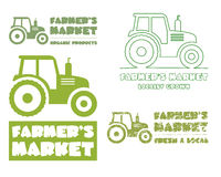 Set of Tractor logo design template. harvest or Royalty Free Stock Image