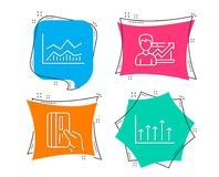Trade infochart, Payment card and Success business icons. Growth chart sign. Set of Trade infochart, Payment card and Success business icons. Growth chart sign Royalty Free Stock Photography
