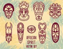 Set of traditional african masks and african ornaments Stock Photo