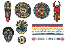 Set of traditional african masks and african ornaments Stock Photography