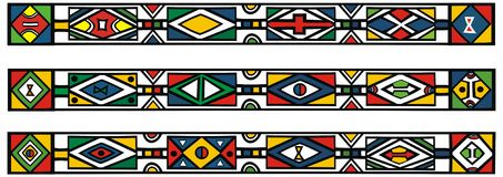 Set of traditional african ndebele patterns Stock Photo