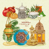 Set of traditional Arabian old utensils Stock Photos