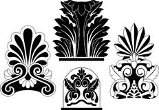 Set of traditional architectural elements stencil Royalty Free Stock Image