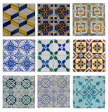Set traditional azulejos tiles Stock Images