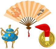 Set of traditional Chinese symbols. Stock Photography
