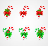 Set of traditional Christmas candy cane decoration. Vector illustration Stock Photography