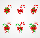 Set of traditional Christmas candy cane decoration. Vector illustration Stock Photos