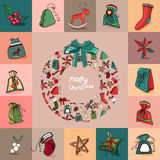 Set with traditional Christmas elements. Royalty Free Stock Images