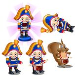 Set of traditional Christmas figurines Nutcracker with a drum and a mouse. Sketch for greeting card, festive poster or. Party invitations.The attributes of Stock Photo