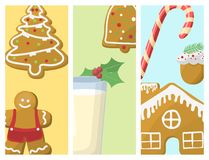 Traditional christmas food cards desserts holiday decoration xmas sweet celebration meal vector illustration. Stock Photo