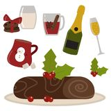 Set of traditional christmas food and desserts holiday decoration xmas sweet celebration dessert vector illustration. Royalty Free Stock Photography