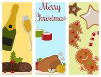Set of traditional christmas food flayer desserts holiday decoration xmas sweet celebration dessert vector illustration. Stock Photography