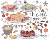 Set with traditional Christmas food isolated on white. Lettering phrases included