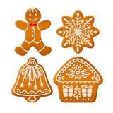 Ginger cookies: gingerbread men, snowflake, bell and house. Set of traditional Christmas ginger cookies decorated with sugar icing. Gingerbread man, house, bell stock illustration