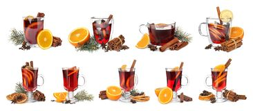 Set of traditional Christmas mulled wine in different glasses. On white background stock image
