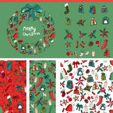 Set with traditional Christmas templates. Red and green color Stock Photos