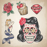Set of traditional colored tattoos Stock Photo
