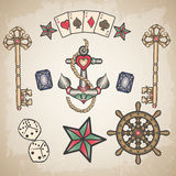 Set of traditional colored tattoos Royalty Free Stock Image