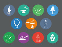 Set of traditional craftsmanships/arts flat design icons Royalty Free Stock Photos